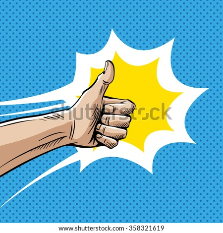 Like sign gesture thumb isolated comic book pop art, vector illustration