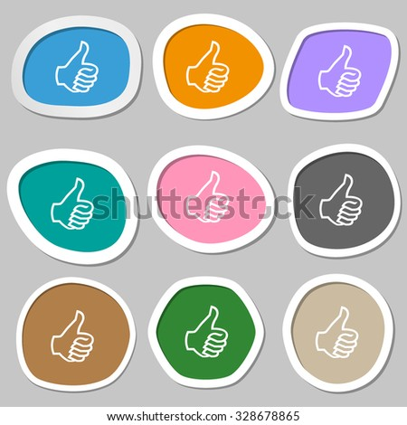 Like sign icon. Thumb up sign. Hand finger up. Multicolored paper stickers. Vector illustration - stock vector
