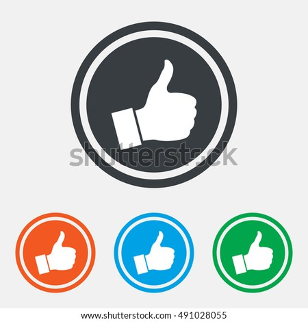 Like sign icon. Thumb up sign. Hand finger up symbol. Graphic design web element. Flat like symbol on the round button. Vector