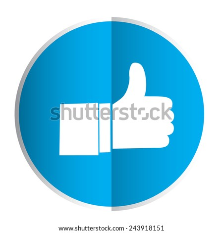 Like symbol or businessman hand on a blue background. - stock vector