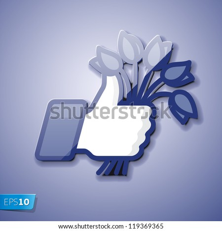 Like/Thumbs Up icon with bunch of flowers, vector Eps10 illustration - stock vector