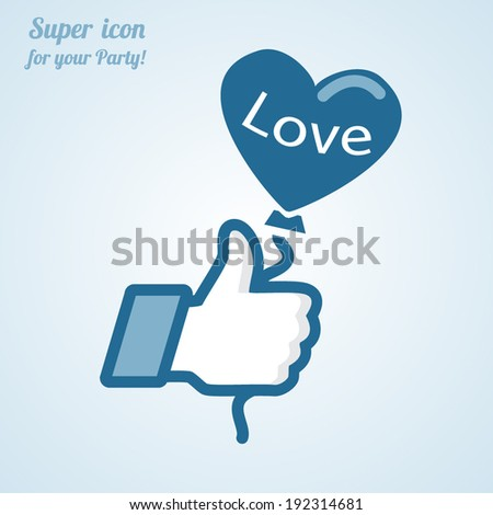Like/Thumbs Up symbol icon with heart balloon, vector Eps 10 illustration. Icon for Party - stock vector