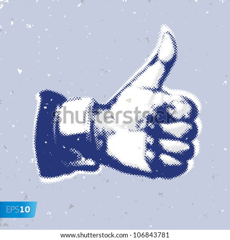 Like/Thumbs Up symbol on a grey background, vector Eps10 illustration. - stock vector