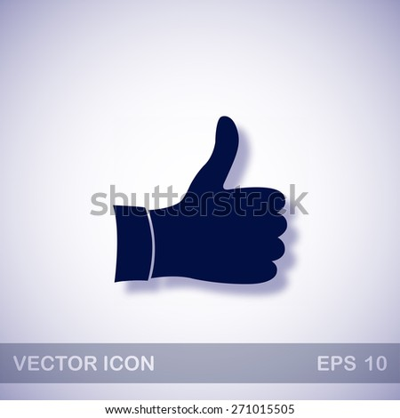 Like vector icon - dark blue illustration with blue shadow - stock vector