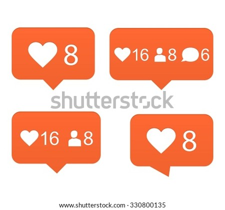 Likes, set of counter notification - stock vector