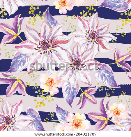Lilac flowers with violet leaves and floral elements on the striped background. Watercolor seamless pattern with summer flowers. Clematis and small roses. - stock vector
