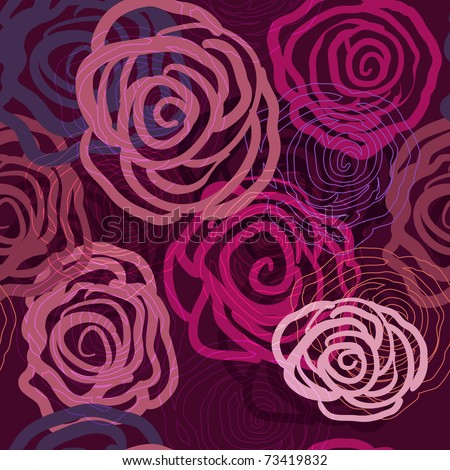 Lilac seamless vector texture with abstract roses - stock vector