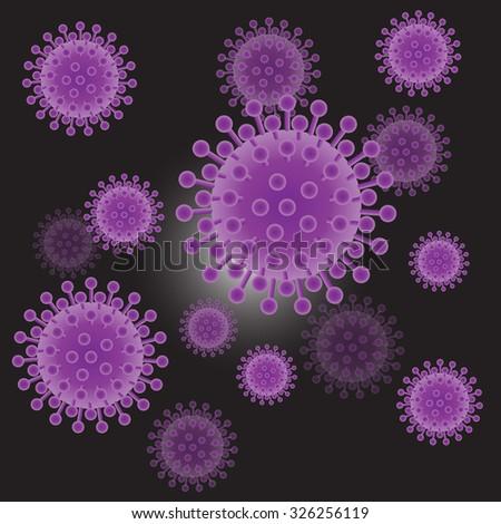 Lilac virus cells on dark background, vector illustration - stock vector