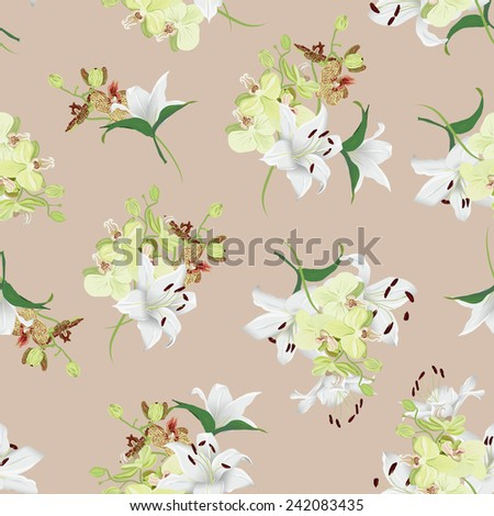 Lilies and orchids almond seamless vector background  - stock vector