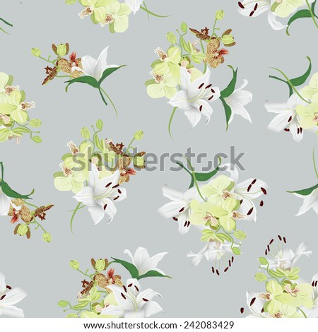 Lilies and orchids grey seamless vector background  - stock vector