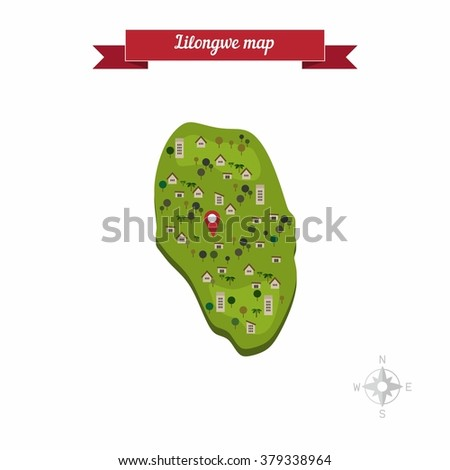 Lilongwe Malawi Map Flat Style Design Stock Vector 379338964