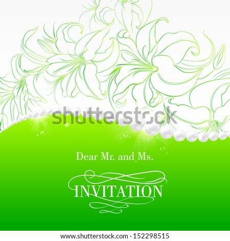 Lily and jewelry invitation card. Vector illustration. - stock vector