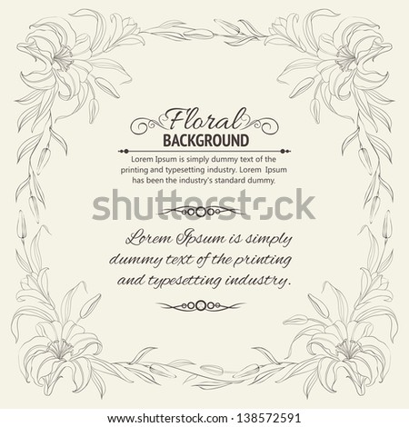 Lily frame for invitations or announcements. Vector illustration. - stock vector