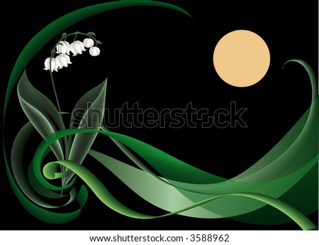lily in darkness, floral background, vector illustration