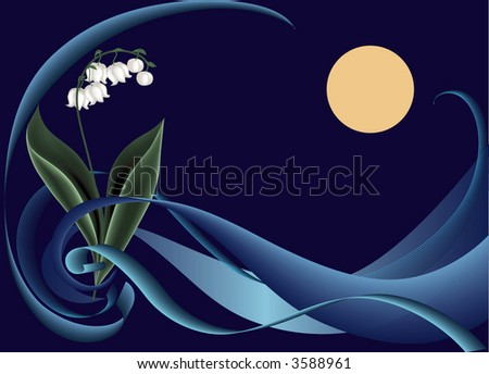lily in night, floral background, vector illustration