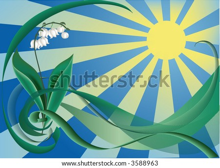 lily in sunshine, floral background, vector illustration