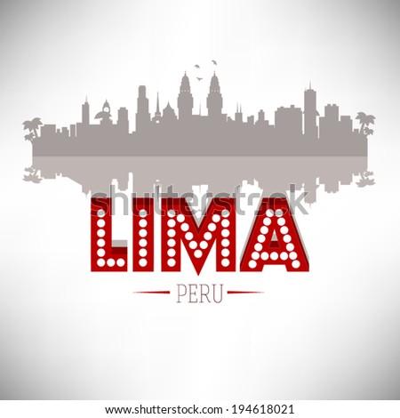 Lima Peru skyline silhouette design, vector illustration. - stock vector