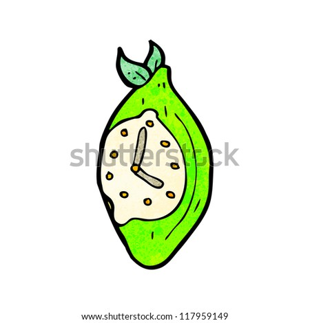 lime alarm clock cartoon - stock vector