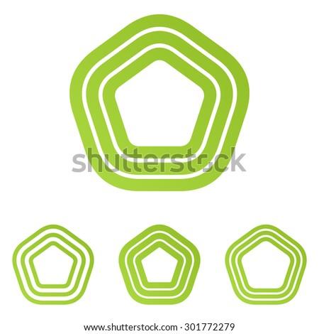 Lime color line pentagonal logo design set - stock vector
