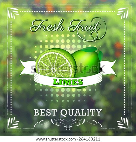 Lime fruit on natural background with ribbon. Fruity edition/vector illustration - stock vector