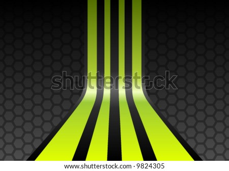 Lime green stripes on gray mesh honeycomb background - stock vector