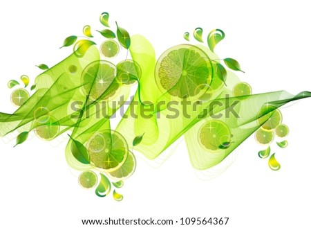 lime juice splash with abstract wave, vector illustration
