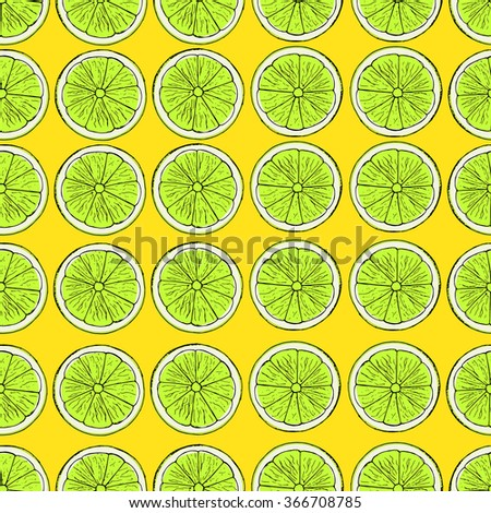 Lime pattern. Seamless decorative background with lime slices. Colorful summer fruit vector illustration on yellow background.