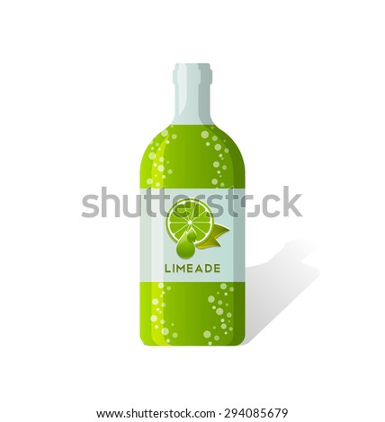 Limeade bottle with fresh juicy lime depicted on label - stock vector
