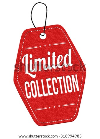 Limited Collection red leather label or price tag on white background, vector illustration - stock vector