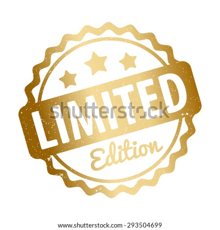 Limited Edition rubber stamp award vector gold on a white background. - stock vector