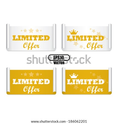 Limited offer yellow labels and stickers with crown and little star around Isolated on White Background - vector  - stock vector