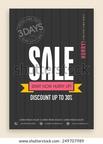 Limited time sale flyer, banner or template design with discount offer. - stock vector