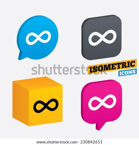 Limitless sign icon. Infinity symbol. Isometric speech bubbles and cube. Rotated icons with edges. Vector - stock vector