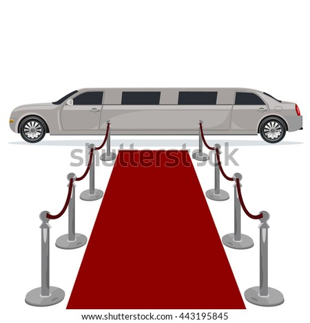 limousine and red carpet concept, flat design, vector illustration - stock vector