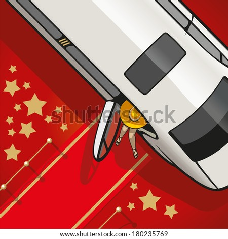 Limousine brings a very important person on the red carpet. - stock vector