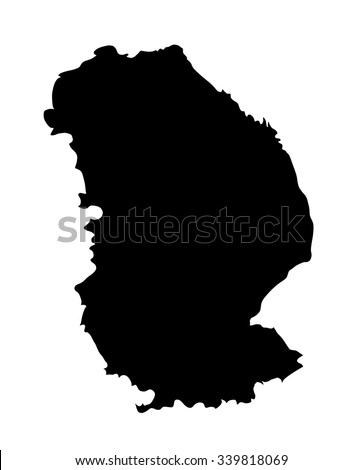 Lincolnshire vector silhouette map isolated on white background. Vector map of Lincolnshire in East Midlands, United Kingdom. - stock vector