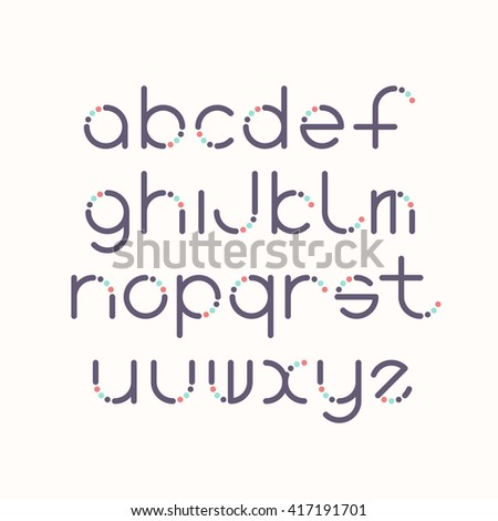 Line and circle latin font, graphical decorative color type.  - stock vector