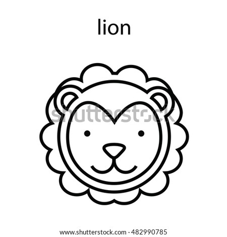 lion symbol outline line animal head icon set vector illustration lion
