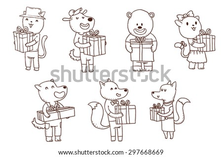 Line animals with gifts, set, vector - stock vector