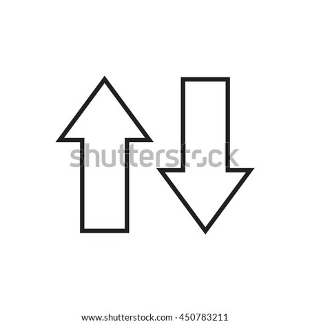 Line arrows up and down. Vector illustration. - stock vector
