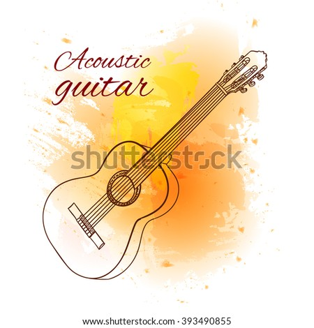 Line art. Acoustic guitar on yellow paint splash. Dark red lines. VECTOR sketched illustration  - stock vector