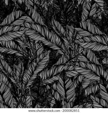 line art background of feathers bird  - stock vector