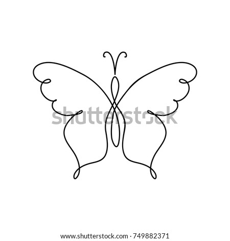 Line Art Butterfly Abstract Modern Decoration One Drawing Fancy