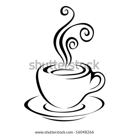 Line art coffee isolated on white - stock vector