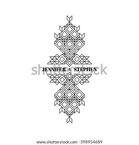Line Art Design for Invitations, Posters, Badges. Linear Element. Geometric Style. Ornate Element for Design. Wedding Invitation. Elegant Luxury Design Template. Lineart Vector Illustration. - stock vector