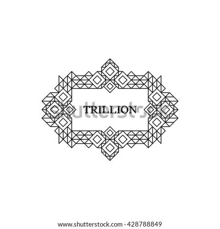 Line Art Design for Invitations, Posters, Badges. Linear Element. Geometric Style. Wedding Invitation. Elegant Luxury Template. Vector Illustration. - stock vector