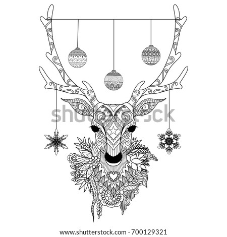 Line Art Design Of Christmas Balls And Snowflakes Hanging On Deer Horns For Print Adult