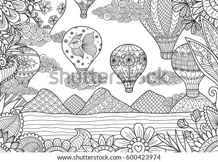 line art design of hot air balloons in spring and summer time for coloring page and - Coloring Page Hot Air Balloon