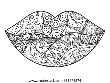 Line art design woman lips adult stock vector 685293574 for Lipstick coloring pages