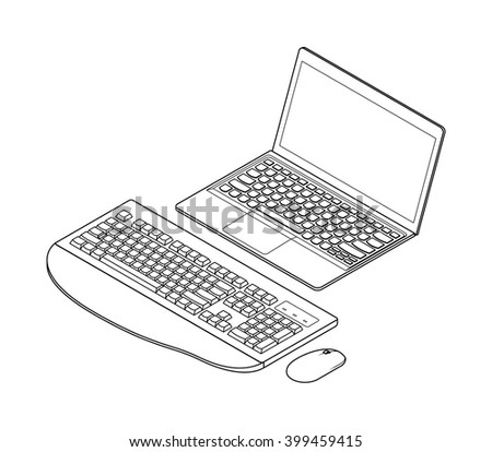 Line-art detailed isometric drawing of a laptop computer. With an external wireless full size keyboard and mouse. - stock vector